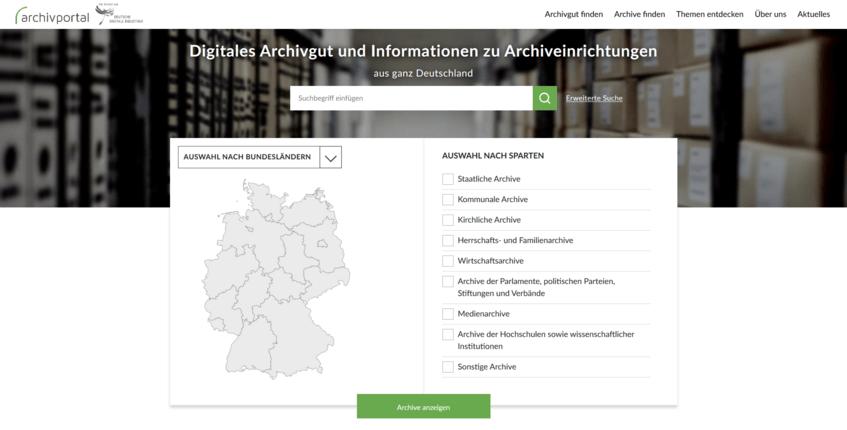 Startseite des Archivportal-D