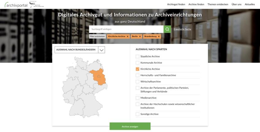 Eine Suchanfrage für kirchliche Archive in Brandenburg und Berlin