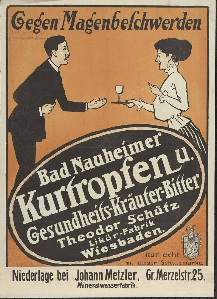 Gesundes Wasser, Plakat, 1905 und 1912, Bad Nauheim, aus der Sammlung von Hessisches Landesarchiv - Abteilung Staatsarchiv Darmstadt