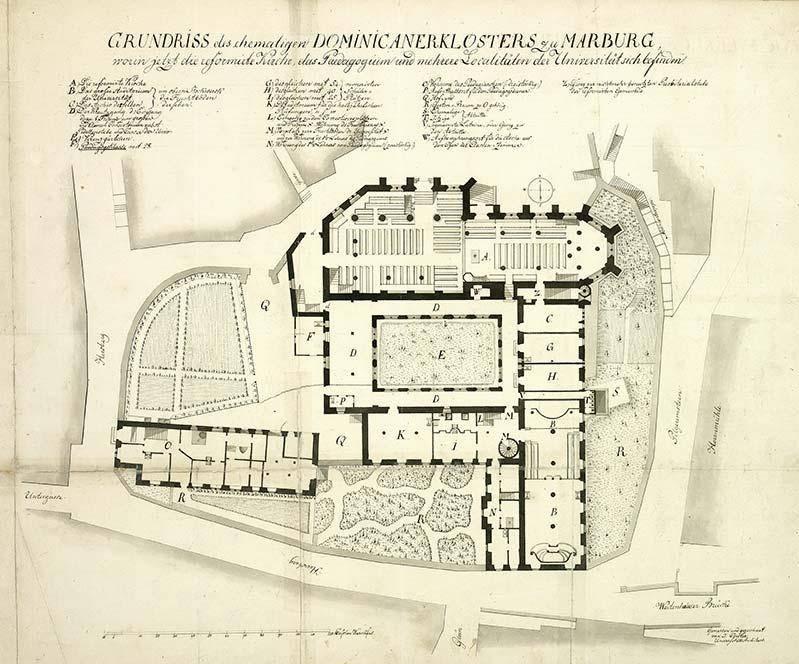 Plan des ehemaligen Dominikanerklosters in Marburg, Jacob Cöster, Universitätsarchitekt, Zeichnung, 1834, Marburg, Hessisches Staatsarchiv Marburg