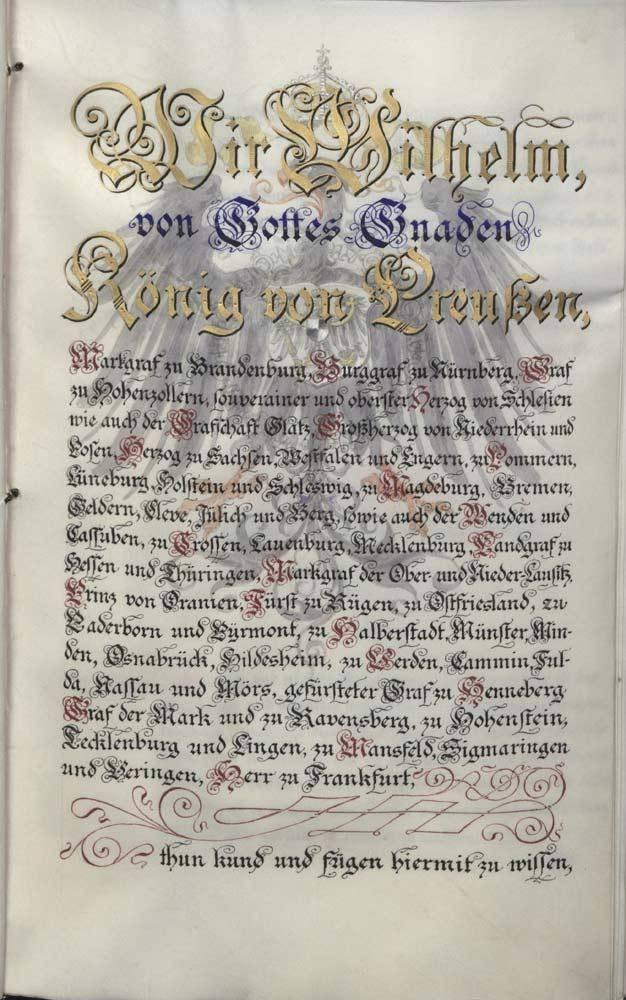 Statuten der königlichen Universität zu Marburg, fol. 2r. UniA MR Urk. 91 Nr. 484, 1885, Berlin, aus der Sammlung vom Archiv der Philipps-Universität Marburg