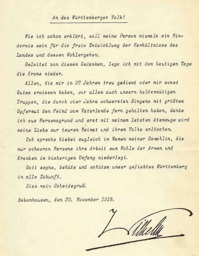 Die Abdankung Wilhelm II. von Württemberg