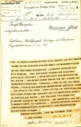 Telegramm der Reichskanzlei vom 29. Juli 1919 mit dem Text der Abdankungserklärung Kaiser Wilhelms II.