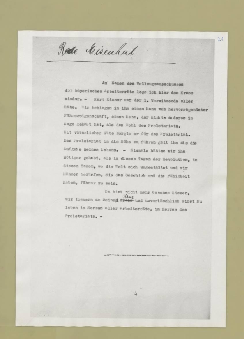 Dokument zur Ermordung Kurt Eisners 1919 (Quelle: Bundesarchiv)