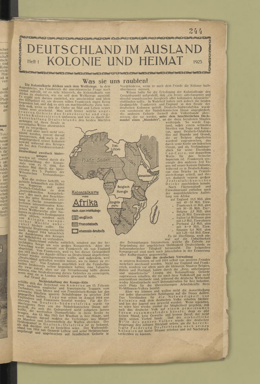 Koloniale Reichsarbeitsgemeinschaft, Richtlinien für die koloniale Propaganda (1925)