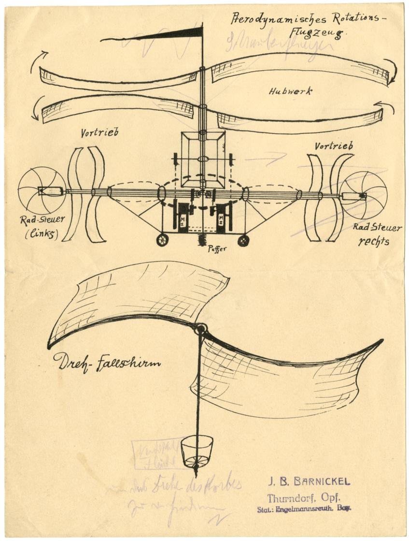 Skizze eines pterodynamischen Raotationsflugzeuges und eines Drehfallschirms