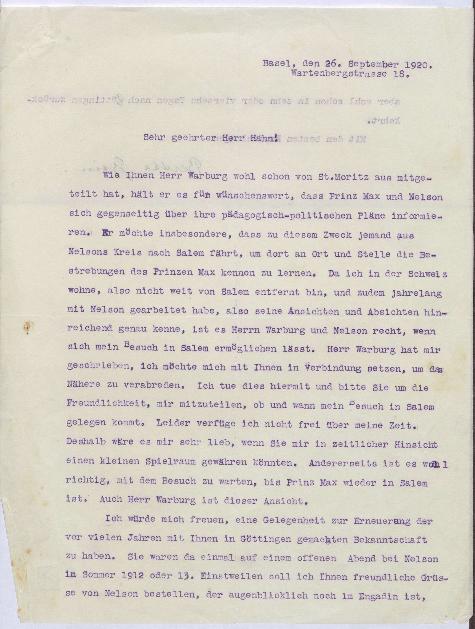 Durschlag eines Schreibens von Bertha Sindler-Gysin an Kurt Hahn; Anfrage eines Besuchertermins von [Max?] Warburg und Leonard Nelson in Salem