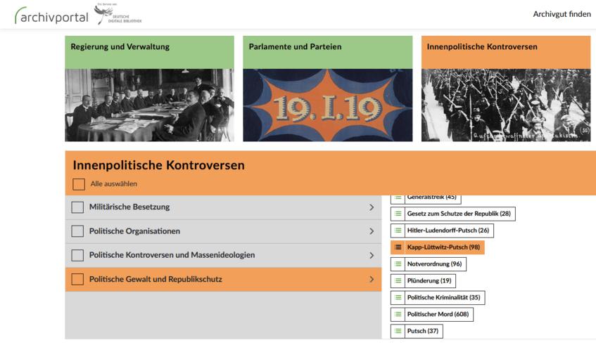 Kategorienauswahl auf der Themenportal-Startseite