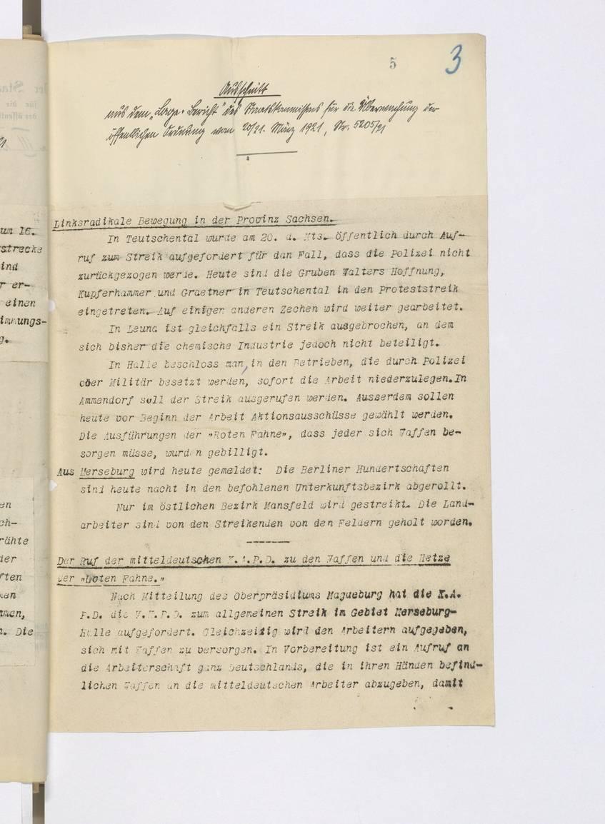 """Ausschnitt aus dem """"Lage-Bericht"""" des Reichskommissars für die Überwachung der öffentlichen Ordnung, S. 5. BArch R 601/623."""