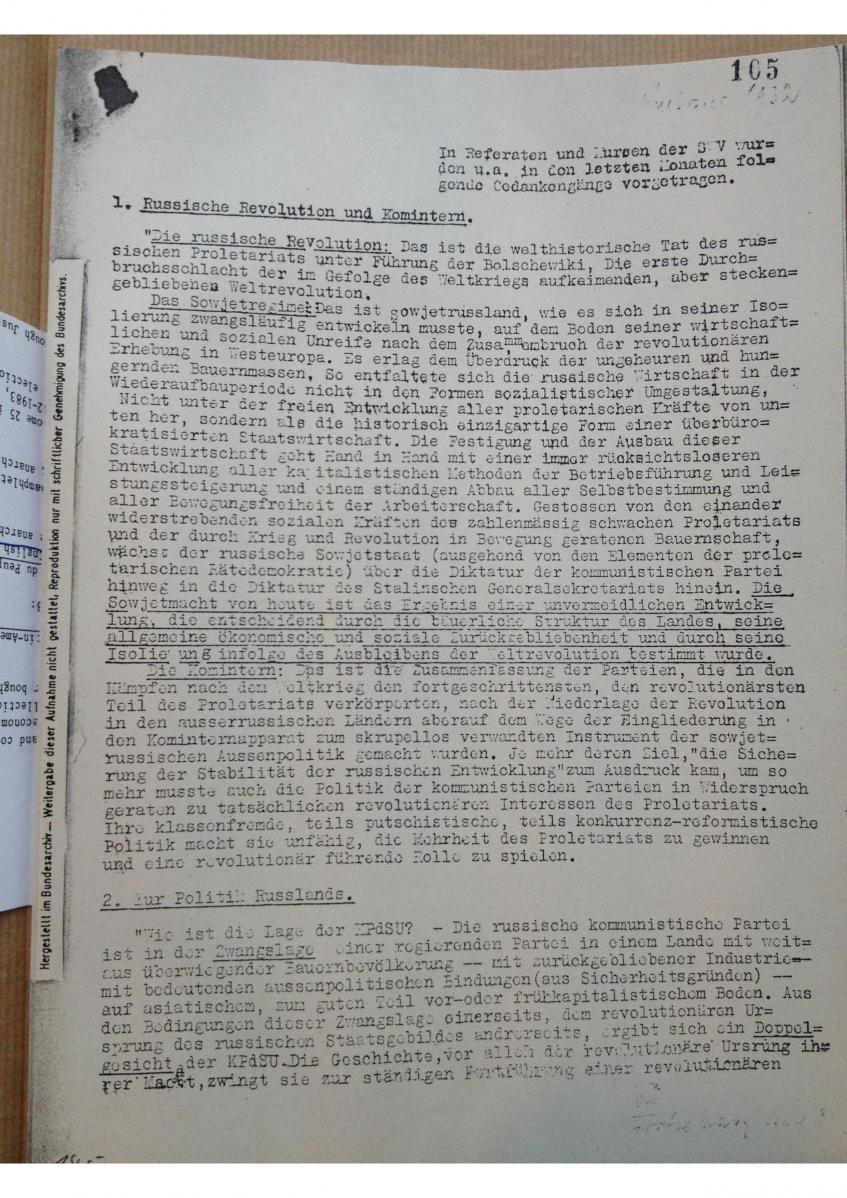 Digitalisat eines Diskussionspapiers der SWV aus dem IISH Amsterdam. IISH-Karl-Schröder-Papers-IV-51.2-SWV-Kurs-1932-Auszug.
