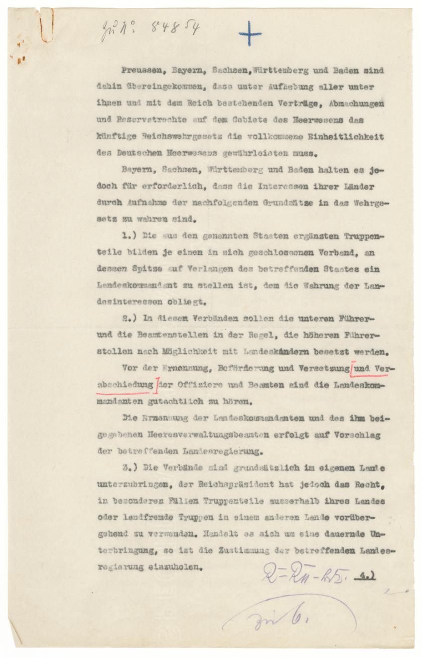 Vereinbarung der Länder über die künftige Gestaltung des Heeres, [1919]