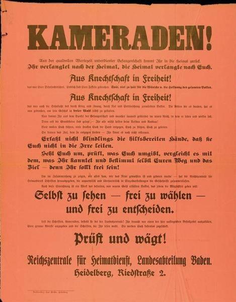 """""""Kameraden"""", Aufruf der Reichszentrale für Heimatdienst, Landesabteilung Baden, zur Nutzung der Wahlfreiheit, 8. Oktober 1919"""