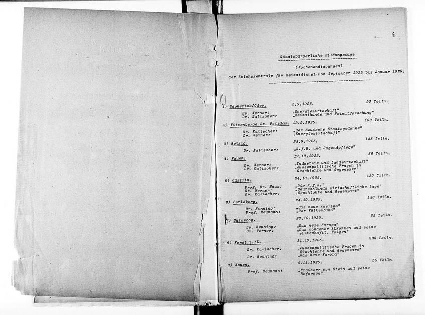 Inhaltsverzeichnis zu den staatsbürgerlichen Bildungstagen und Lehrgängen der Reichszentrale für Heimatdienst