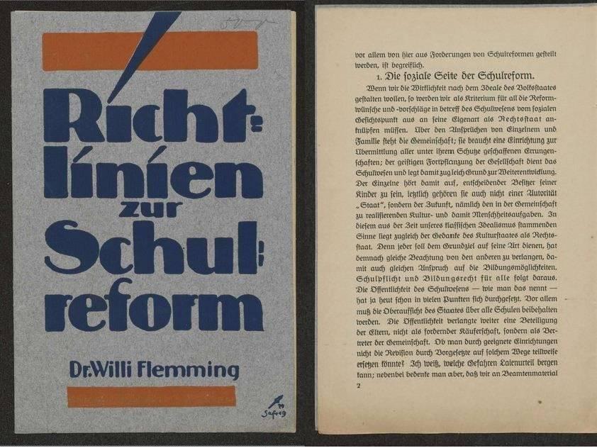 Links ist das Titelblatt der Broschüre, rechts ein Auszug aus der Broschüre (seite 2) abgebildet.