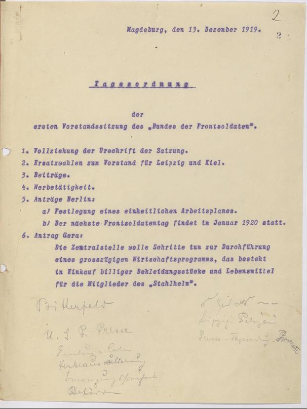 Tagesordnung der ersten Vorstandssitzung des Bundes der Frontsoldaten