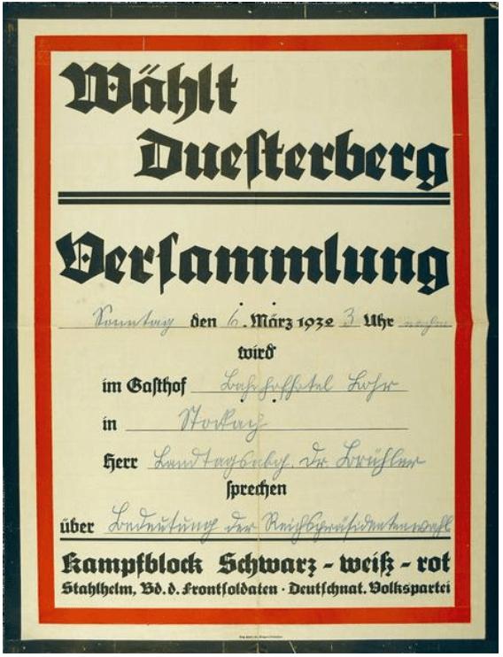 """""""Wählt Duesterberg"""". Einladung des Kampfblocks Schwarz-weiß-rot zur Versammlung in Stockach am 6.3.1932"""